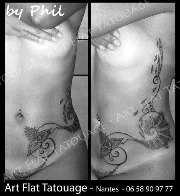Arabesque Femme Art Flat Tatouage