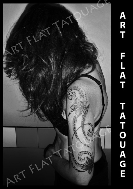 Polynesien Femme Art Flat Tatouage