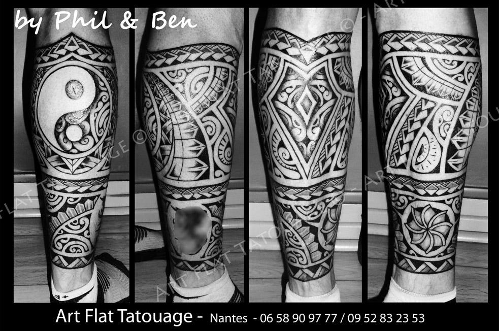 Polynesien Homme Art Flat Tatouage