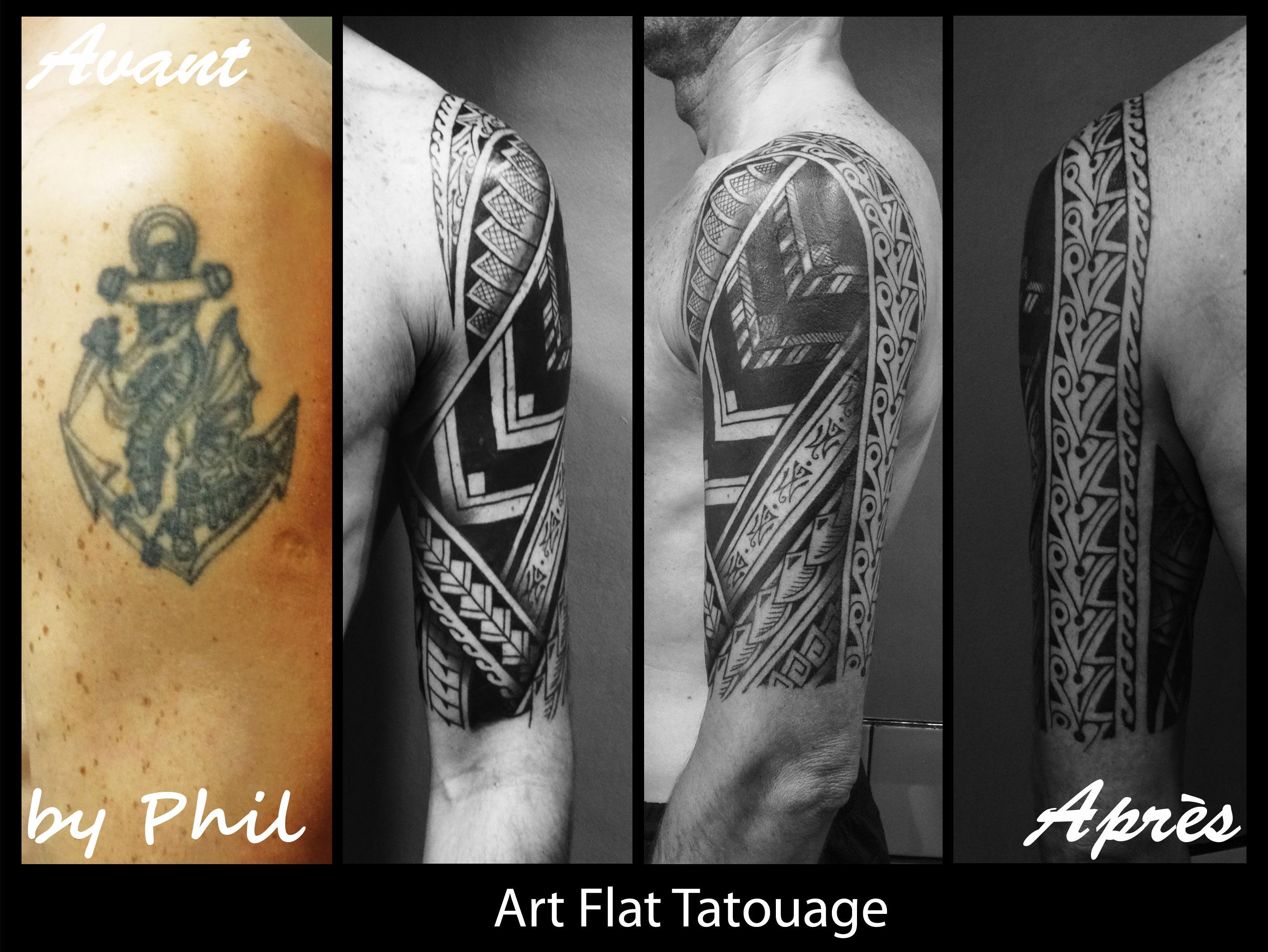 Samoan Homme Art Flat Tatouage